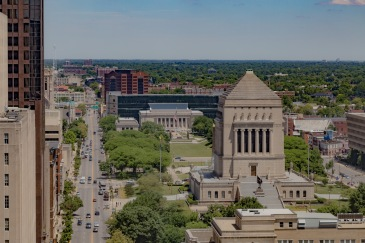 Looking North toward the Indiana War Memorial