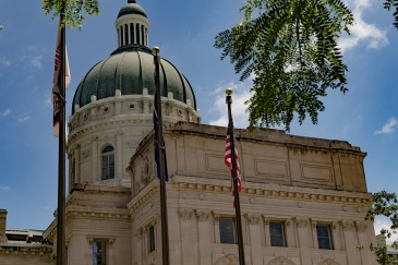 Indiana Statehouse and flags